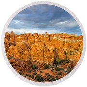 Contrasts In Arches National Park Round Beach Towel