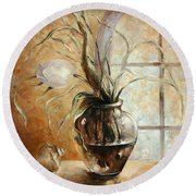 Contre Jour. White Tulip In A Vase.oil Painting On Canvas Round Beach Towel