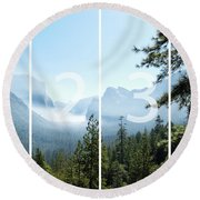 Controlled Burn Of Yosemite Panoramic Map Round Beach Towel