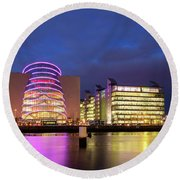 Convention Centre Dublin And Pwc Building In Dublin, Ireland Round Beach Towel