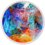 Round Beach Towel featuring the painting Convergence by Dominic Piperata