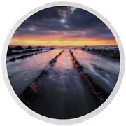 Converging To The Light Round Beach Towel