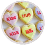 Round Beach Towel featuring the photograph Conversation Heart Decorated Cookies by Teri Virbickis