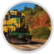 Conway New Hampshire Scenic Railway Round Beach Towel by Brenda Jacobs