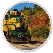 Conway New Hampshire Scenic Railway Round Beach Towel