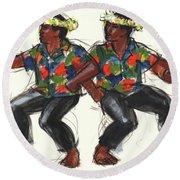 Cook Islands Ute Dancers Round Beach Towel