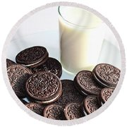 Cookies And Milk Round Beach Towel by Barbara Griffin