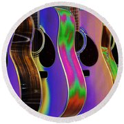 Round Beach Towel featuring the photograph Cool Acoustic Guitars by Annie Zeno