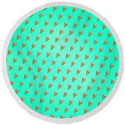 Cool And Trendy Pizza Pattern In Super Acid Green   Turquoise   Blue Round Beach Towel