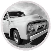 Cool As Ice - 1954 Ford F-100 In Black And White Round Beach Towel