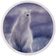 Round Beach Towel featuring the painting Cool Bear by Allison Ashton