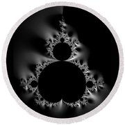 Cool Black And White Mandelbrot Set Round Beach Towel