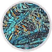 Cool Blue Round Beach Towel