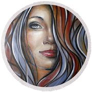 Cool Blue Smile 070709 Round Beach Towel by Selena Boron