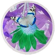 Cool Butterfly In Lavender Leaves Round Beach Towel
