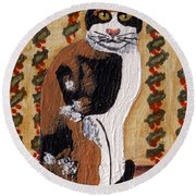 Cool Calico Cat Round Beach Towel