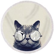 Cool Cat Round Beach Towel by Vitor Costa
