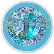 Cool Celtic Dragonfly Round Beach Towel