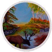 Round Beach Towel featuring the painting Cool Drink by Leslie Allen