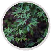 Cool Green Leaves Round Beach Towel