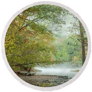 Round Beach Towel featuring the photograph Cool Morning by Iris Greenwell