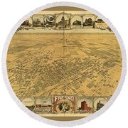 Cool Old Vintage Map Of Fresno California Round Beach Towel