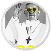 Cool Pope  Round Beach Towel