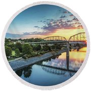 Coolidge Park Sunrise Panoramic Round Beach Towel