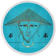 Coolie Buddha -- Stylized Buddha In Hat Round Beach Towel