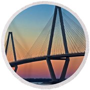 Cooper River Bridge Sunset Round Beach Towel by Suzanne Stout