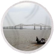 Cooper River Bridges Round Beach Towel
