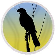 Coopers Hawk Silhouette At Sunrise Round Beach Towel