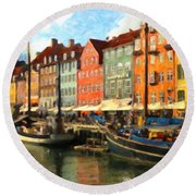 Round Beach Towel featuring the painting Copenhagen by Chris Armytage