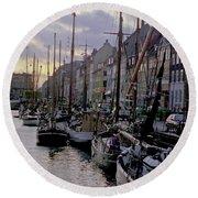 Copenhagen Quay Round Beach Towel