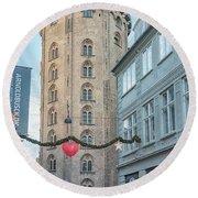 Round Beach Towel featuring the photograph Copenhagen Round Tower Street View by Antony McAulay