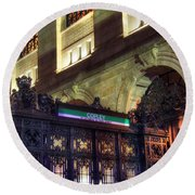 Round Beach Towel featuring the photograph Copley Square T Stop - Boston by Joann Vitali