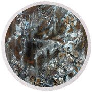 Round Beach Towel featuring the painting Copper And Mica by Joanne Smoley