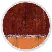 Copper Field Abstract Painting Round Beach Towel