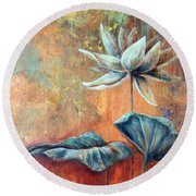 Copper Lotus Round Beach Towel