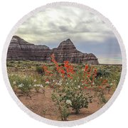 Copper Mallow And Pale Evening Primrose Round Beach Towel