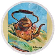 Copper Teapot Round Beach Towel