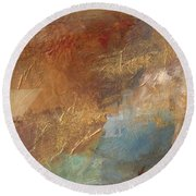 Copper Turquoise Abstract Round Beach Towel