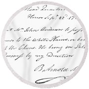 Copy Of The Pass Carried By John Andre, Signed By Benedict Arnold Round Beach Towel