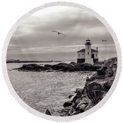 Coquille Lighthouse Oregon  Round Beach Towel