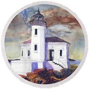 Round Beach Towel featuring the painting Coquille Lighthouse Watercolor by Chriss Pagani