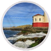 Coquille River Lighthouse At Bandon Round Beach Towel