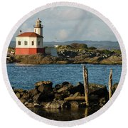 Coquille River Lighthouse Bandon Oregon Round Beach Towel
