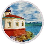 Round Beach Towel featuring the painting Coquille River Lighthouse by Jeff Kolker