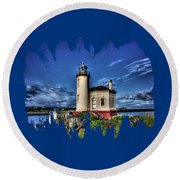Round Beach Towel featuring the photograph Coquille River Lighthouse by Thom Zehrfeld