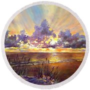 Coquina Beach Sunset Round Beach Towel by Lou Ann Bagnall